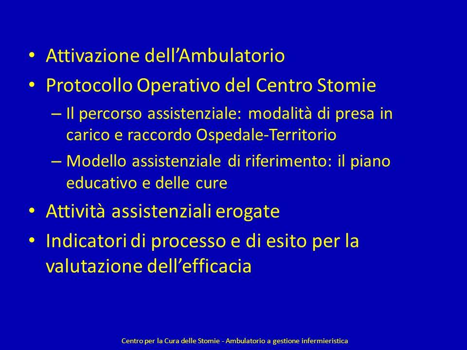 Attivazione dellAmbulatorio Protocollo Operativo del Centro Stomie – Il percorso assistenziale: modalità di presa in carico e raccordo Ospedale-Territ