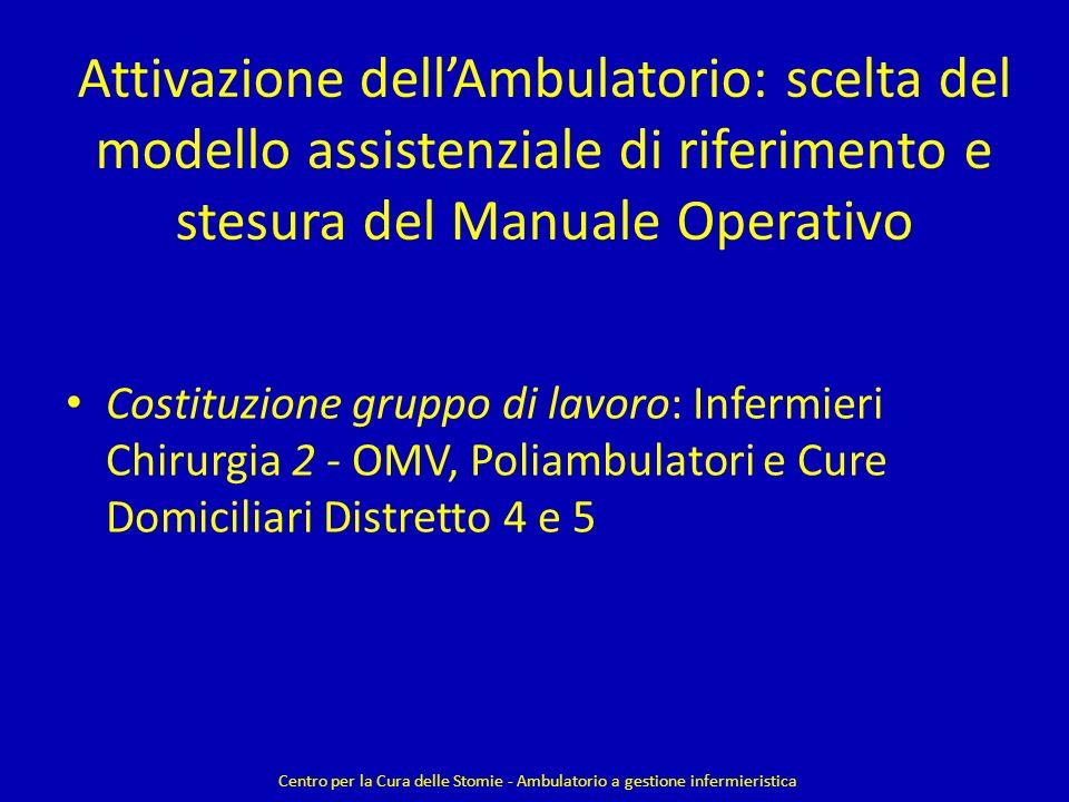 Attivazione dellAmbulatorio: scelta del modello assistenziale di riferimento e stesura del Manuale Operativo Costituzione gruppo di lavoro: Infermieri