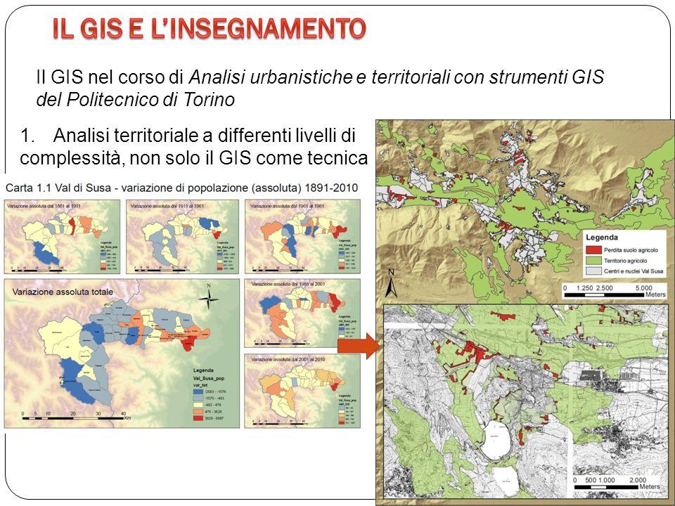 Il GIS nel corso di Analisi urbanistiche e territoriali con strumenti GIS del Politecnico di Torino 1.Analisi territoriale a differenti livelli di complessità, non solo il GIS come tecnica