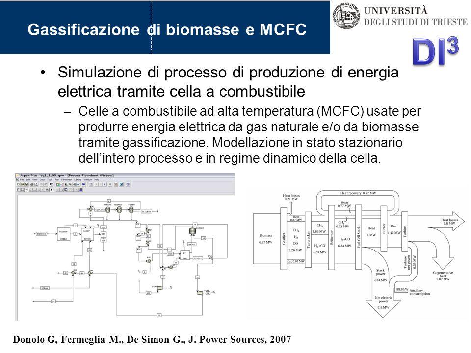 Gassificazione di biomasse e MCFC Simulazione di processo di produzione di energia elettrica tramite cella a combustibile –Celle a combustibile ad alt