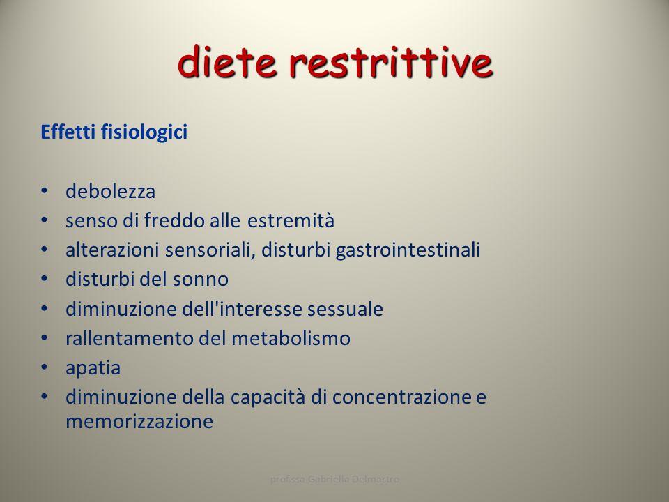 diete restrittive Effetti fisiologici debolezza senso di freddo alle estremità alterazioni sensoriali, disturbi gastrointestinali disturbi del sonno d