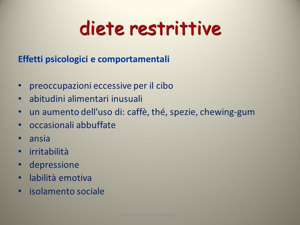 diete restrittive Effetti psicologici e comportamentali preoccupazioni eccessive per il cibo abitudini alimentari inusuali un aumento dell'uso di: caf