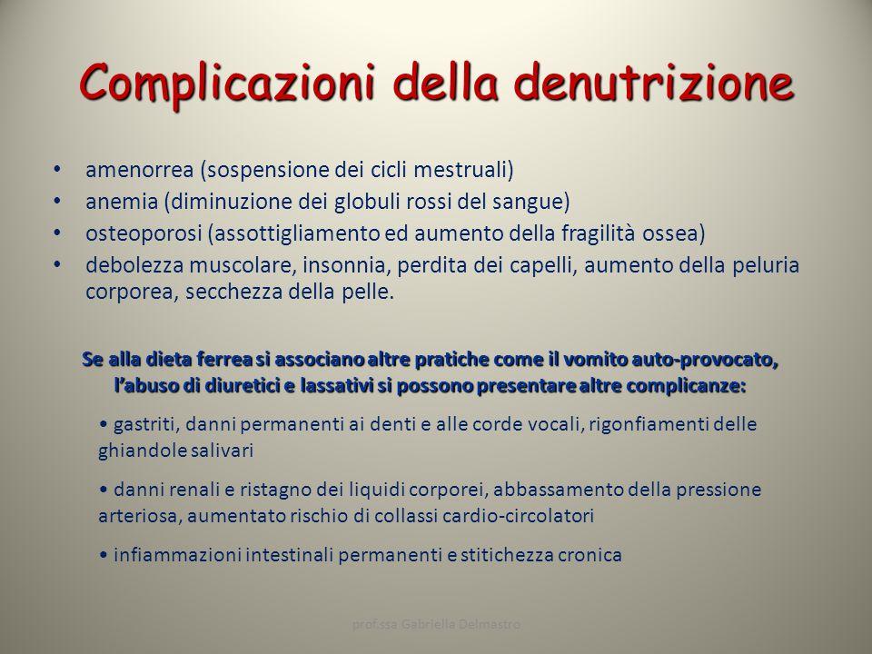 Complicazioni della denutrizione amenorrea (sospensione dei cicli mestruali) anemia (diminuzione dei globuli rossi del sangue) osteoporosi (assottigli
