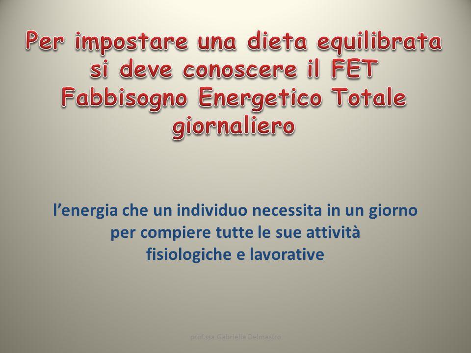 lenergia che un individuo necessita in un giorno per compiere tutte le sue attività fisiologiche e lavorative prof.ssa Gabriella Delmastro