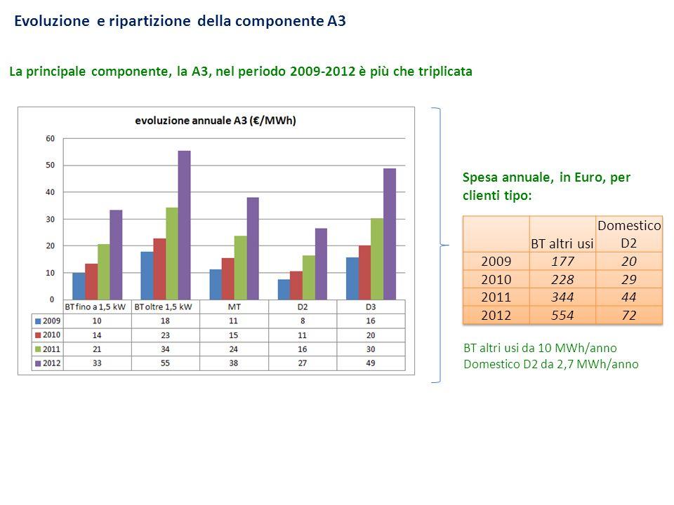 Evoluzione e ripartizione della componente A3 La principale componente, la A3, nel periodo 2009-2012 è più che triplicata Spesa annuale, in Euro, per