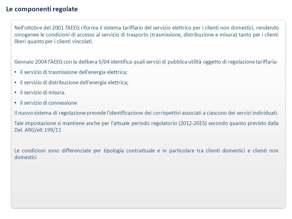 Le componenti regolate Nellottobre del 2001 lAEEG riforma il sistema tariffario del servizio elettrico per i clienti non domestici, rendendo omogenee