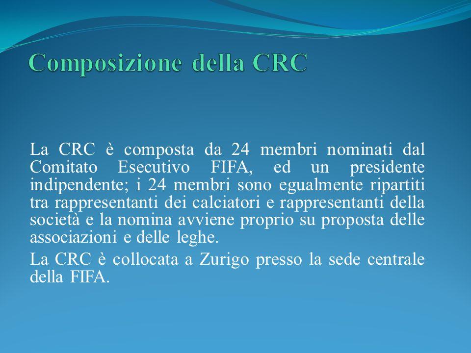 La CRC è composta da 24 membri nominati dal Comitato Esecutivo FIFA, ed un presidente indipendente; i 24 membri sono egualmente ripartiti tra rappresentanti dei calciatori e rappresentanti della società e la nomina avviene proprio su proposta delle associazioni e delle leghe.