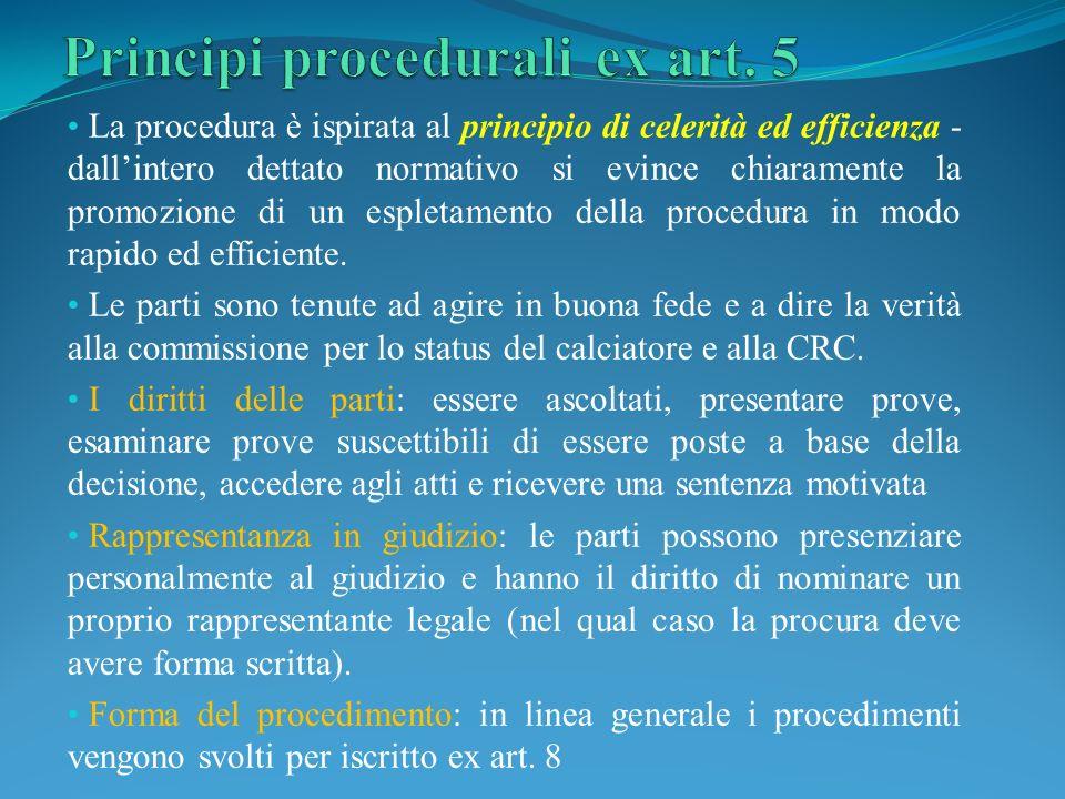 La procedura è ispirata al principio di celerità ed efficienza - dallintero dettato normativo si evince chiaramente la promozione di un espletamento della procedura in modo rapido ed efficiente.