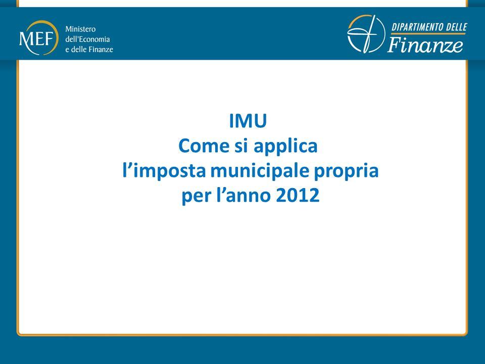 IMU Come si applica limposta municipale propria per lanno 2012