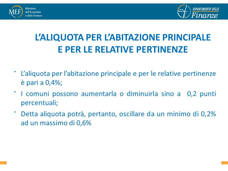 Laliquota per labitazione principale e per le relative pertinenze è pari a 0,4%; I comuni possono aumentarla o diminuirla sino a 0,2 punti percentuali