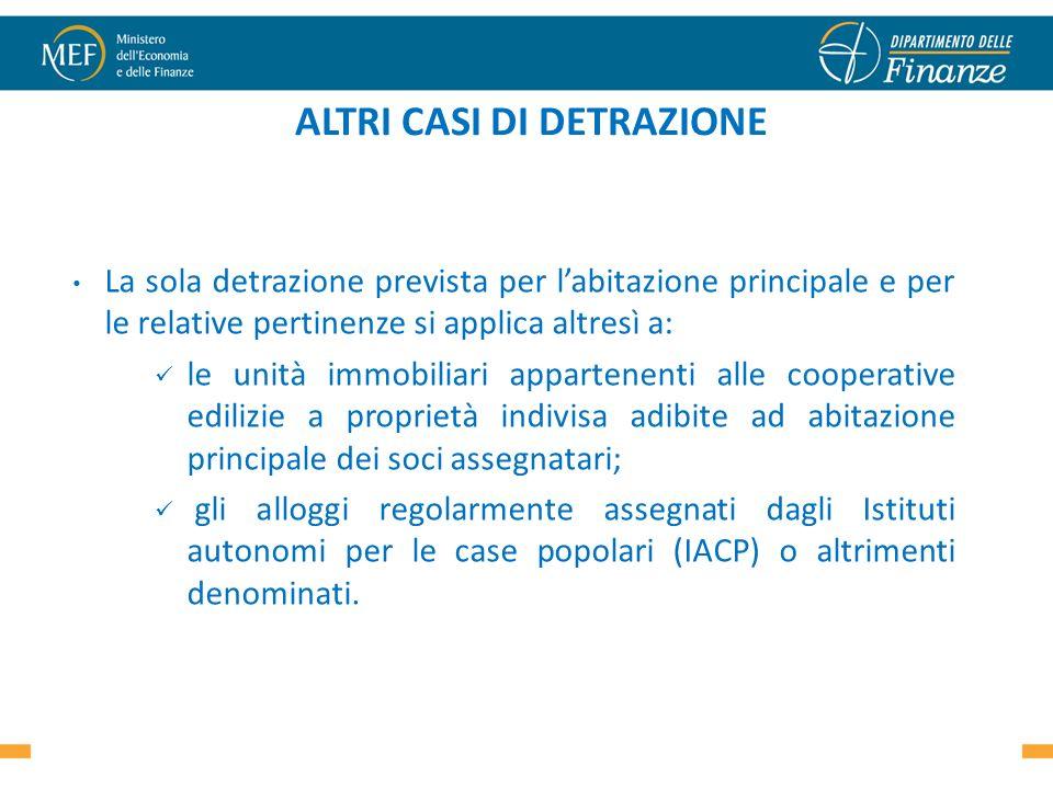ALTRI CASI DI DETRAZIONE La sola detrazione prevista per labitazione principale e per le relative pertinenze si applica altresì a: le unità immobiliar