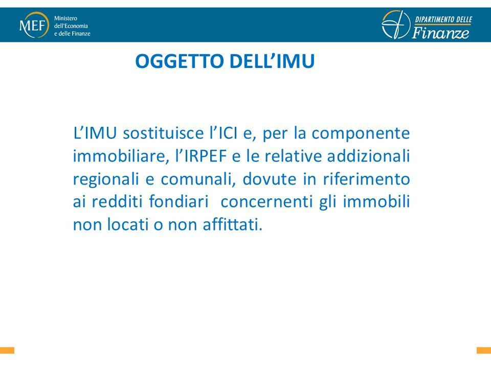 OGGETTO DELLIMU LIMU sostituisce lICI e, per la componente immobiliare, lIRPEF e le relative addizionali regionali e comunali, dovute in riferimento a