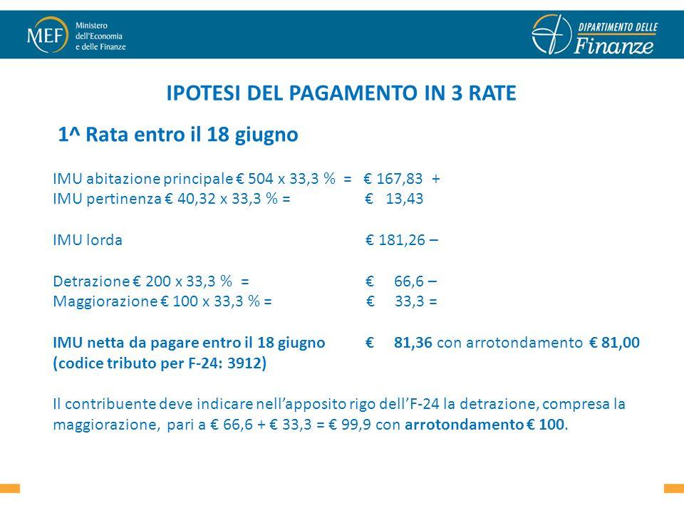 IPOTESI DEL PAGAMENTO IN 3 RATE 1^ Rata entro il 18 giugno IMU abitazione principale 504 x 33,3 % = 167,83 + IMU pertinenza 40,32 x 33,3 % = 13,43 IMU