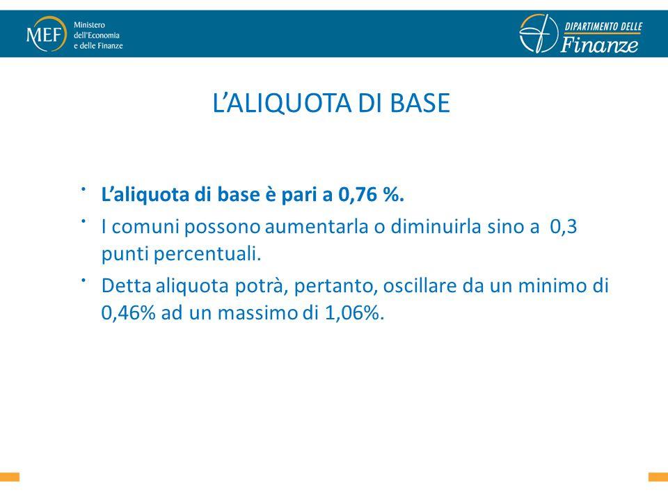 LALIQUOTA DI BASE Laliquota di base è pari a 0,76 %. I comuni possono aumentarla o diminuirla sino a 0,3 punti percentuali. Detta aliquota potrà, pert