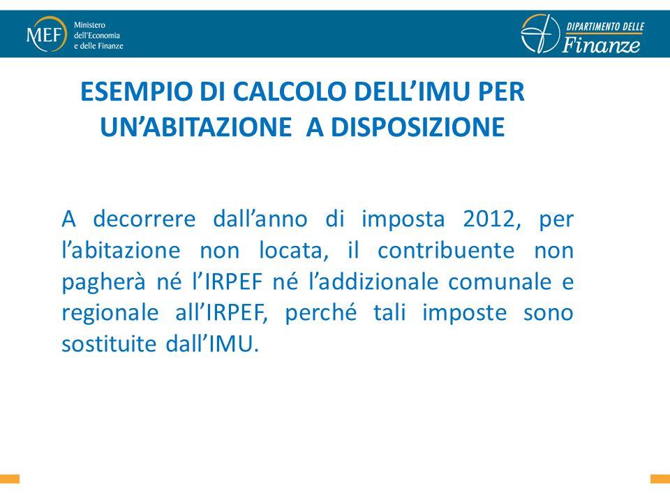 ESEMPIO DI CALCOLO DELLIMU PER UNABITAZIONE A DISPOSIZIONE A decorrere dallanno di imposta 2012, per labitazione non locata, il contribuente non paghe