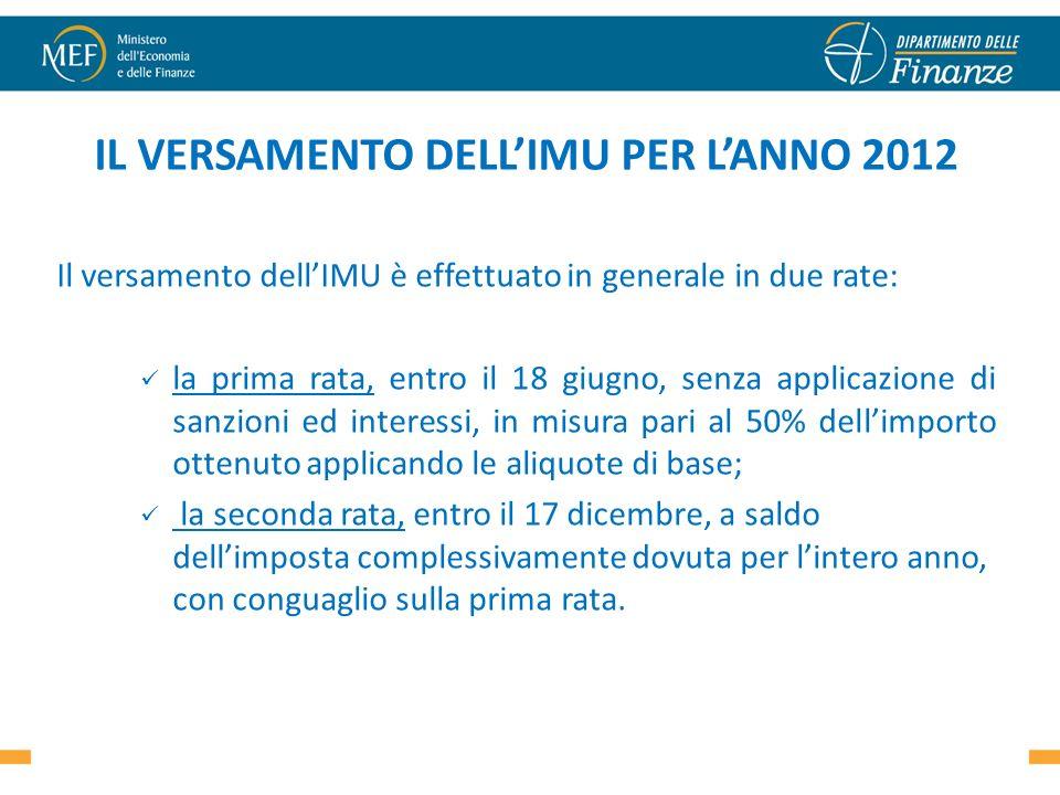 IL VERSAMENTO DELLIMU PER LANNO 2012 Il versamento dellIMU è effettuato in generale in due rate: la prima rata, entro il 18 giugno, senza applicazione