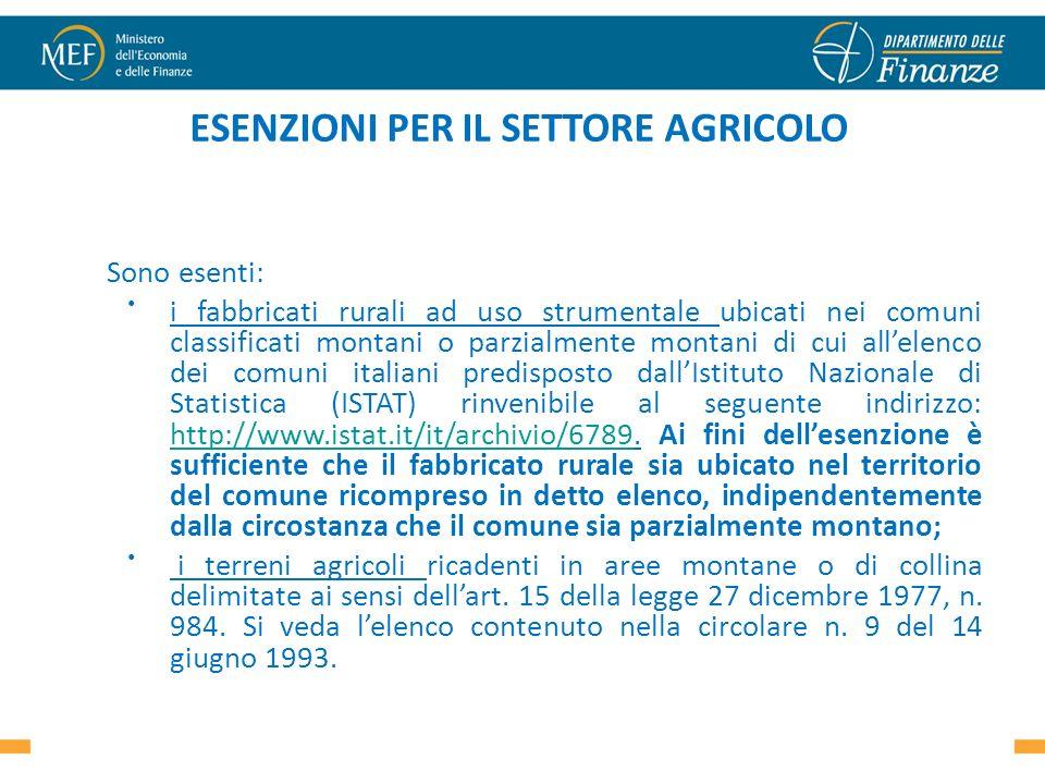 ESENZIONI PER IL SETTORE AGRICOLO Sono esenti: i fabbricati rurali ad uso strumentale ubicati nei comuni classificati montani o parzialmente montani d