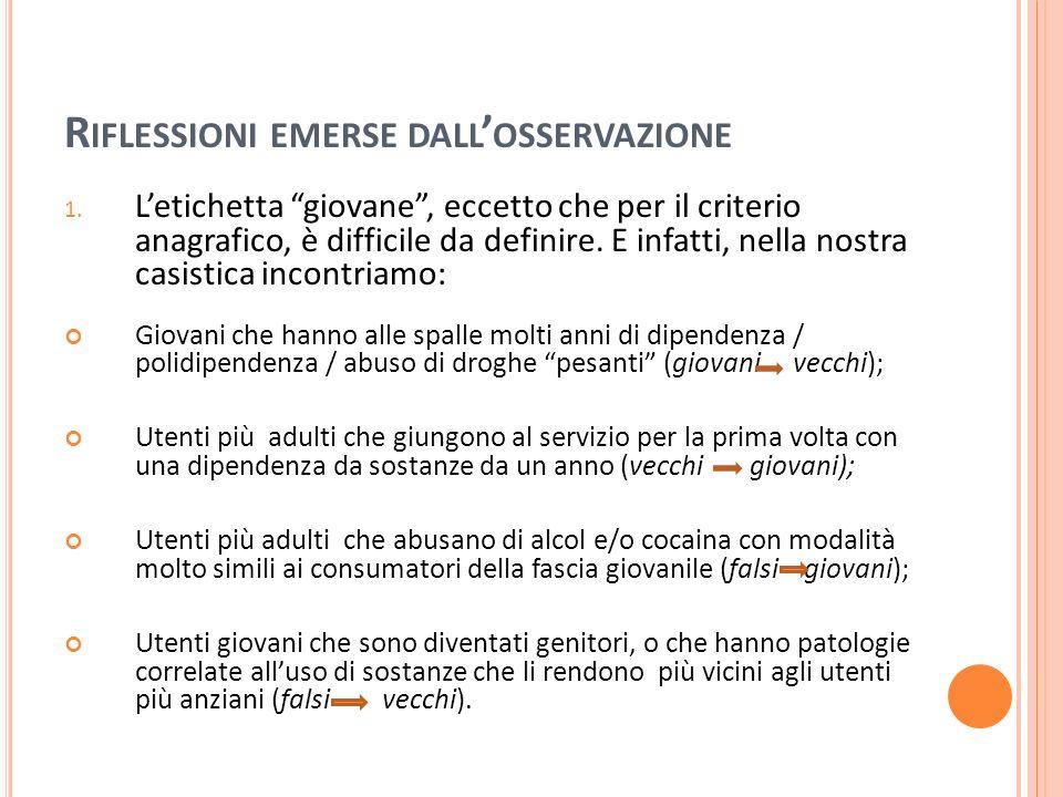 R IFLESSIONI EMERSE DALL OSSERVAZIONE 1.