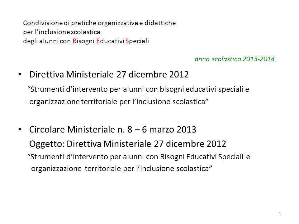 Direttiva Ministeriale 27 dicembre 2012 Strumenti dintervento per alunni con bisogni educativi speciali e organizzazione territoriale per linclusione
