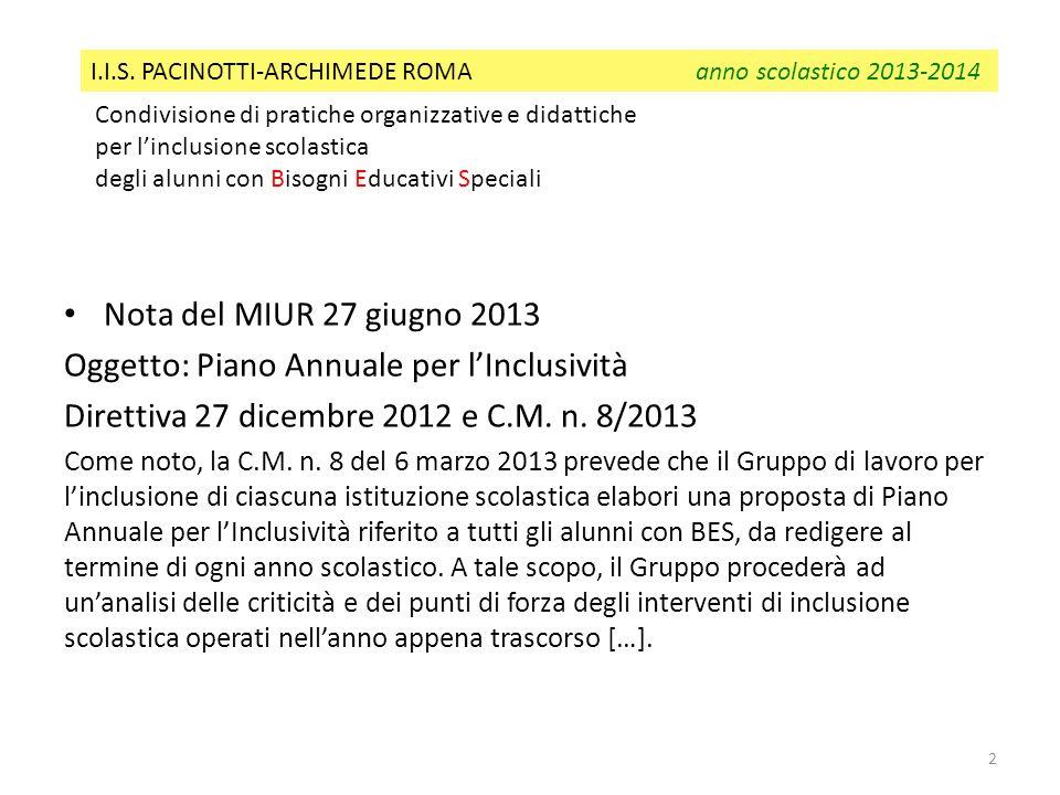 Nota del MIUR 27 giugno 2013 Oggetto: Piano Annuale per lInclusività Direttiva 27 dicembre 2012 e C.M. n. 8/2013 Come noto, la C.M. n. 8 del 6 marzo 2