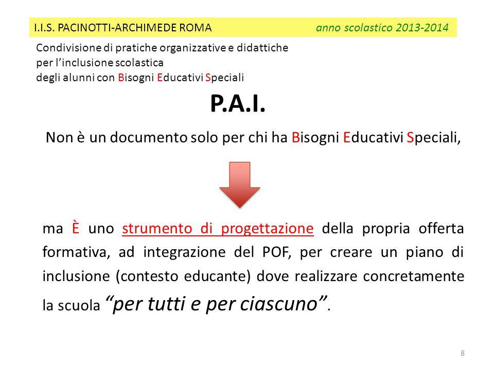 8 Condivisione di pratiche organizzative e didattiche per linclusione scolastica degli alunni con Bisogni Educativi Speciali I.I.S. PACINOTTI-ARCHIMED