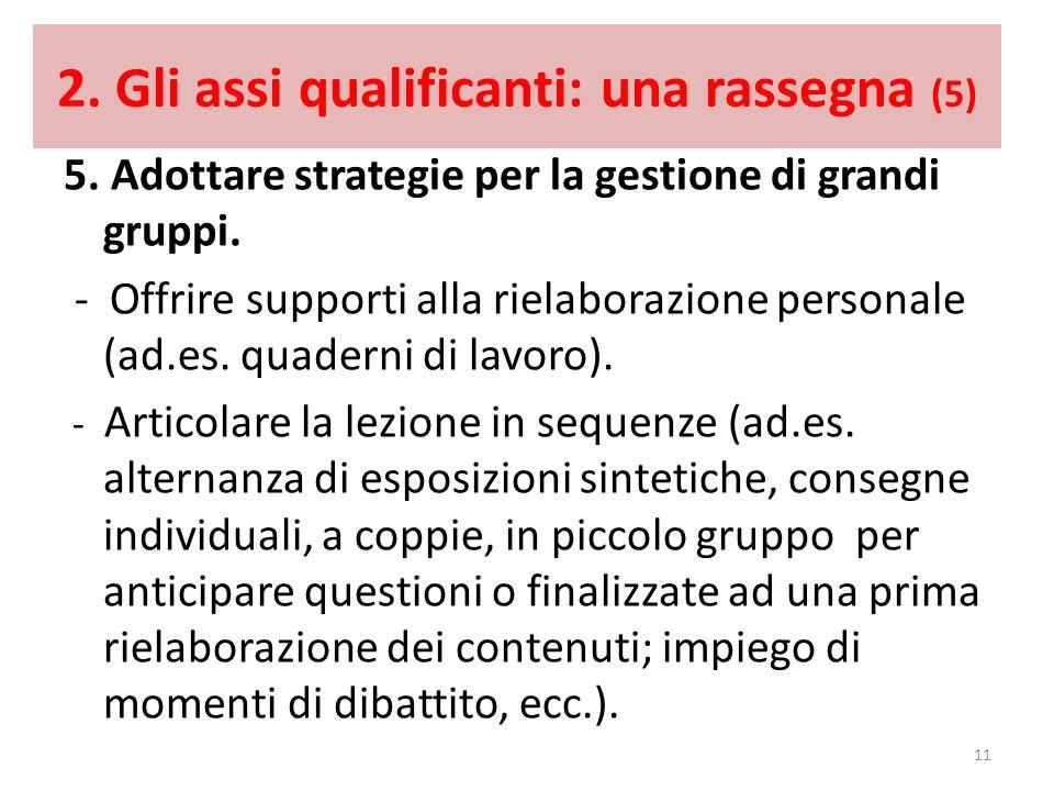 2. Gli assi qualificanti: una rassegna (5) 5. Adottare strategie per la gestione di grandi gruppi. - Offrire supporti alla rielaborazione personale (a