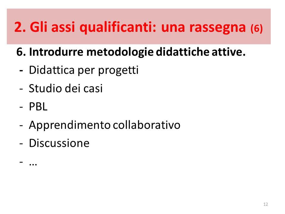 2. Gli assi qualificanti: una rassegna (6) 6. Introdurre metodologie didattiche attive. - Didattica per progetti - Studio dei casi - PBL - Apprendimen