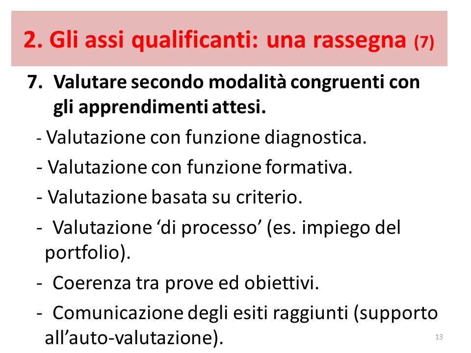 2. Gli assi qualificanti: una rassegna (7) 7.Valutare secondo modalità congruenti con gli apprendimenti attesi. - Valutazione con funzione diagnostica