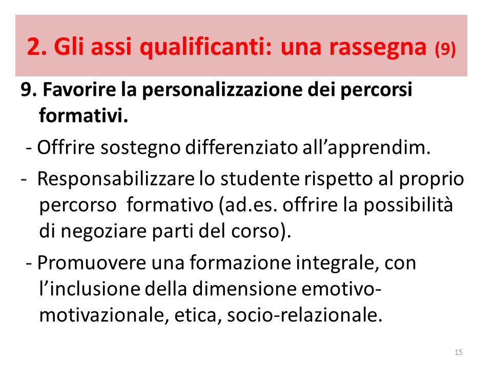 2. Gli assi qualificanti: una rassegna (9) 9. Favorire la personalizzazione dei percorsi formativi. - Offrire sostegno differenziato allapprendim. - R