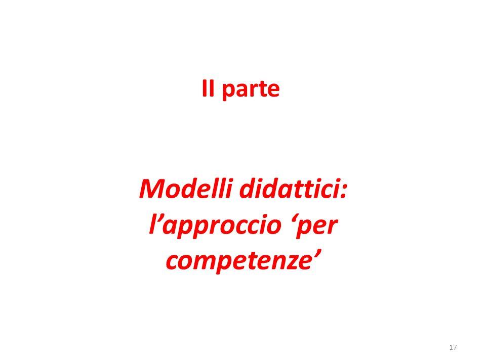 II parte Modelli didattici: lapproccio per competenze 17