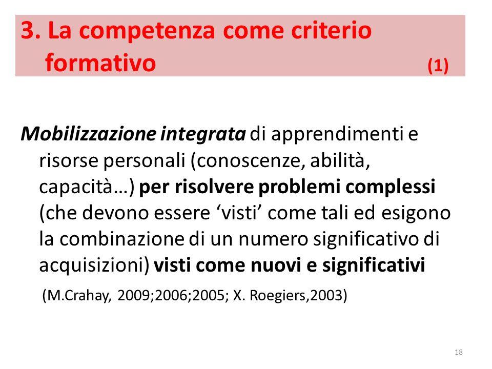 3. La competenza come criterio formativo (1) Mobilizzazione integrata di apprendimenti e risorse personali (conoscenze, abilità, capacità…) per risolv