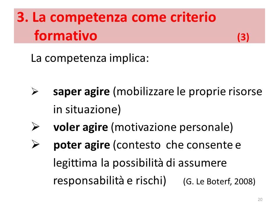 3. La competenza come criterio formativo (3) La competenza implica: saper agire (mobilizzare le proprie risorse in situazione) voler agire (motivazion