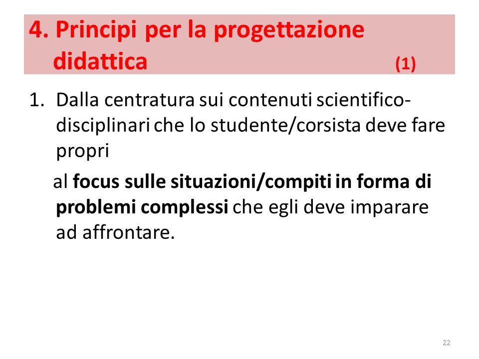 4. Principi per la progettazione didattica (1) 1.Dalla centratura sui contenuti scientifico- disciplinari che lo studente/corsista deve fare propri al