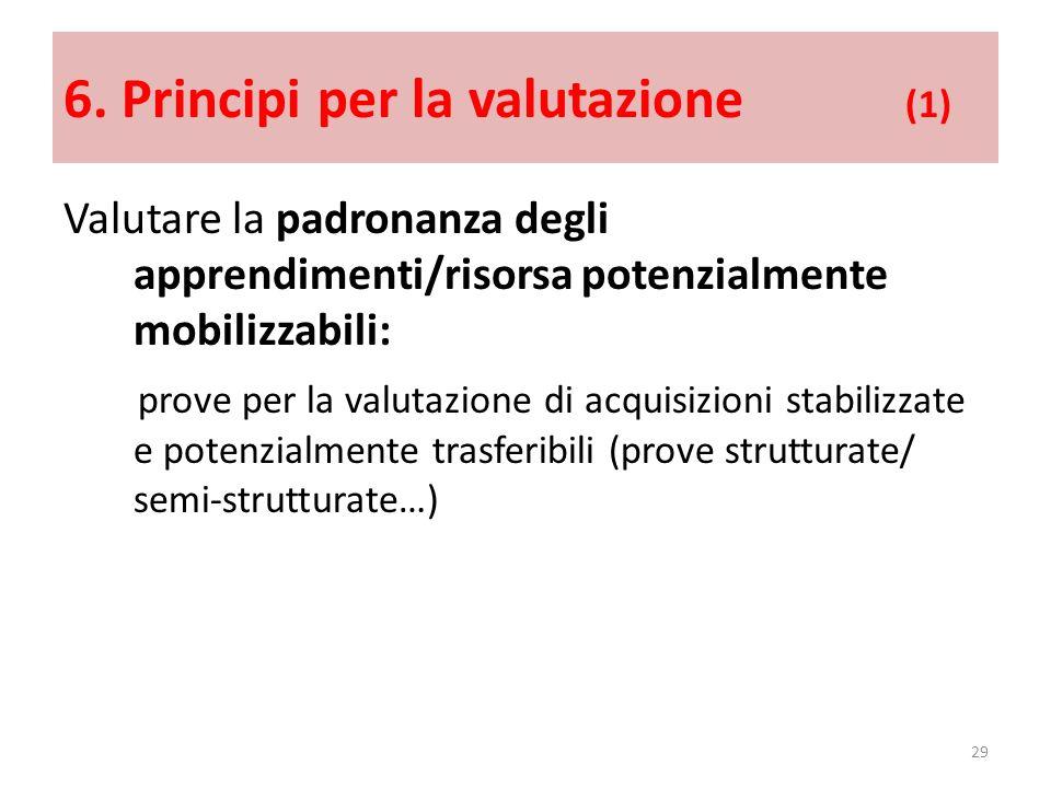 6. Principi per la valutazione (1) Valutare la padronanza degli apprendimenti/risorsa potenzialmente mobilizzabili: prove per la valutazione di acquis
