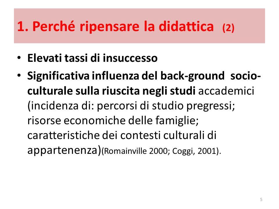 1. Perché ripensare la didattica (2) Elevati tassi di insuccesso Significativa influenza del back-ground socio- culturale sulla riuscita negli studi a