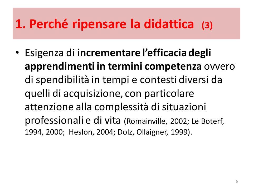1. Perché ripensare la didattica (3) Esigenza di incrementare lefficacia degli apprendimenti in termini competenza ovvero di spendibilità in tempi e c