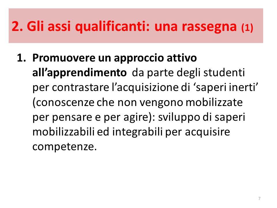 2. Gli assi qualificanti: una rassegna (1) 1.Promuovere un approccio attivo allapprendimento da parte degli studenti per contrastare lacquisizione di