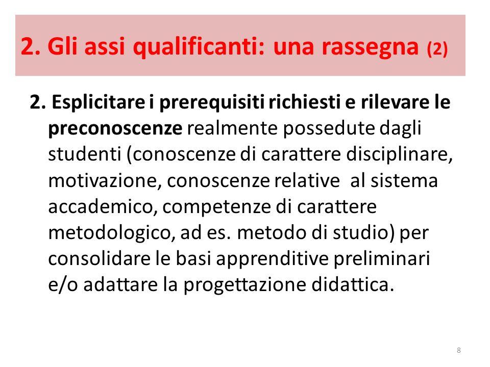 2. Gli assi qualificanti: una rassegna (2) 2. Esplicitare i prerequisiti richiesti e rilevare le preconoscenze realmente possedute dagli studenti (con