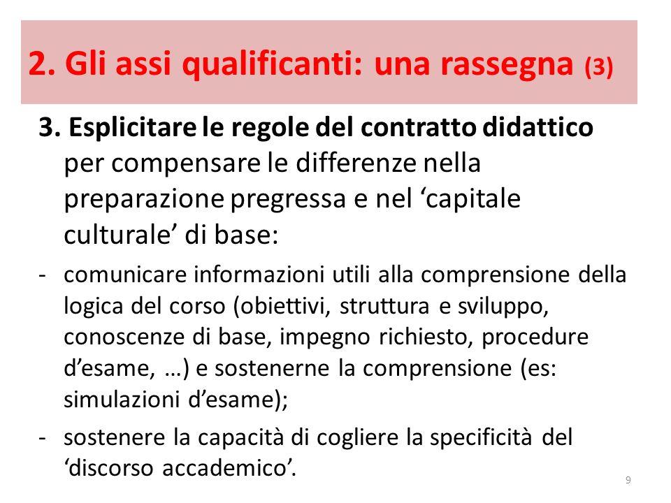 2. Gli assi qualificanti: una rassegna (3) 3. Esplicitare le regole del contratto didattico per compensare le differenze nella preparazione pregressa
