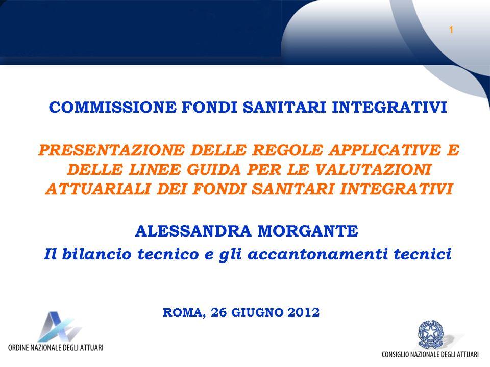 PRESENTAZIONE DELLE REGOLE APPLICATIVE E DELLE LINEE GUIDA PER LE VALUTAZIONI ATTUARIALI DEI FONDI SANITARI INTEGRATIVI ROMA, 26 GIUGNO 2012 COMMISSIONE FONDI SANITARI INTEGRATIVI ALESSANDRA MORGANTE Il bilancio tecnico e gli accantonamenti tecnici 1