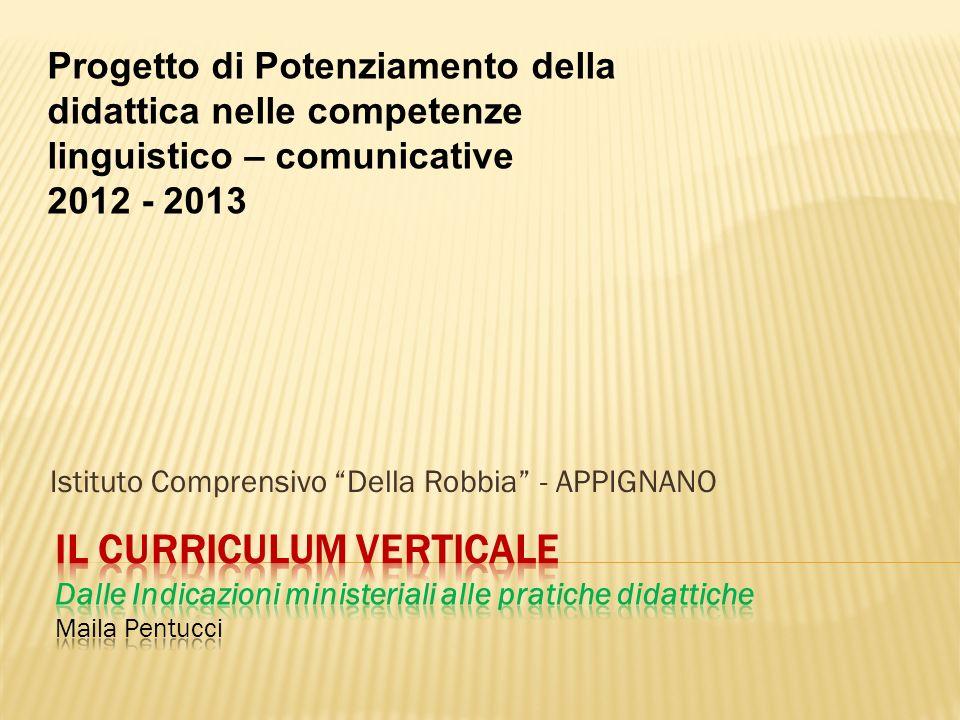Istituto Comprensivo Della Robbia - APPIGNANO Progetto di Potenziamento della didattica nelle competenze linguistico – comunicative 2012 - 2013