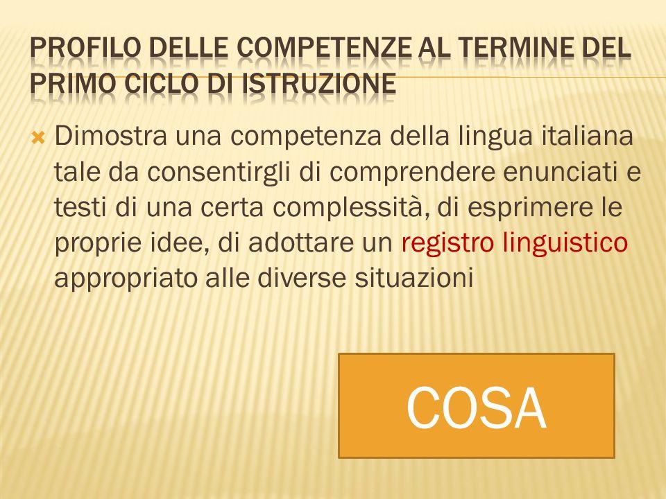 Dimostra una competenza della lingua italiana tale da consentirgli di comprendere enunciati e testi di una certa complessità, di esprimere le proprie idee, di adottare un registro linguistico appropriato alle diverse situazioni COSA