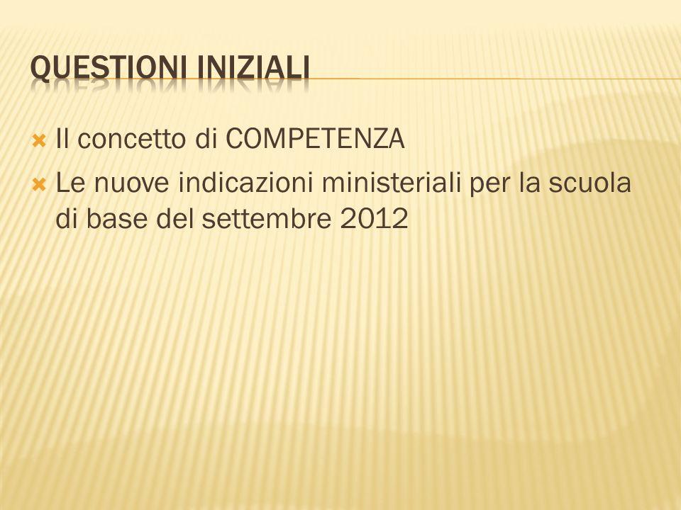 Il concetto di COMPETENZA Le nuove indicazioni ministeriali per la scuola di base del settembre 2012