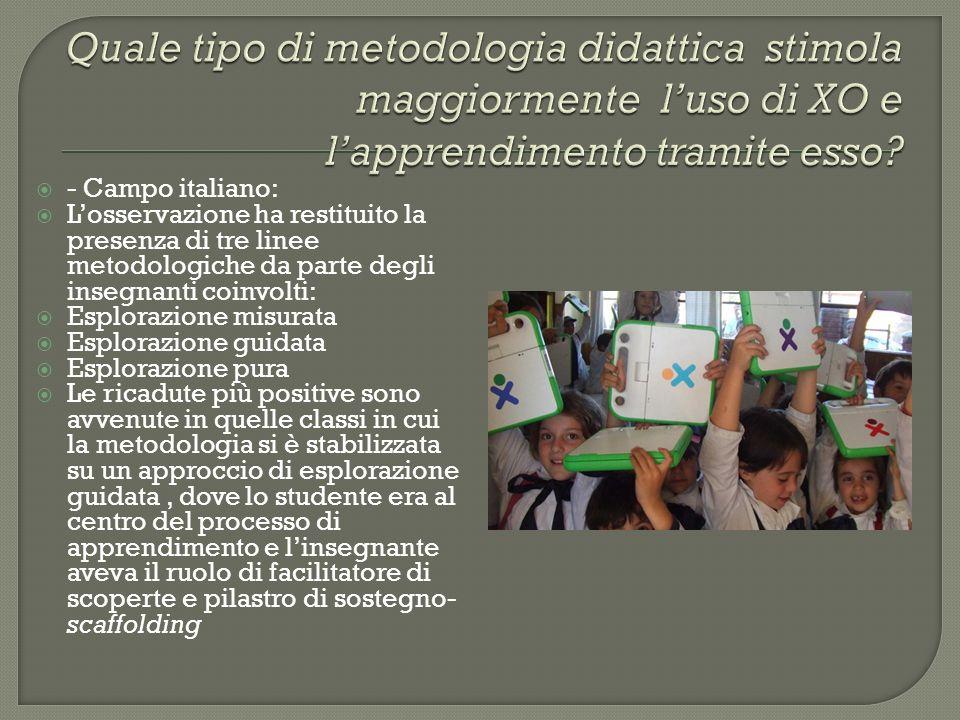 - Campo italiano: Losservazione ha restituito la presenza di tre linee metodologiche da parte degli insegnanti coinvolti: Esplorazione misurata Esplor