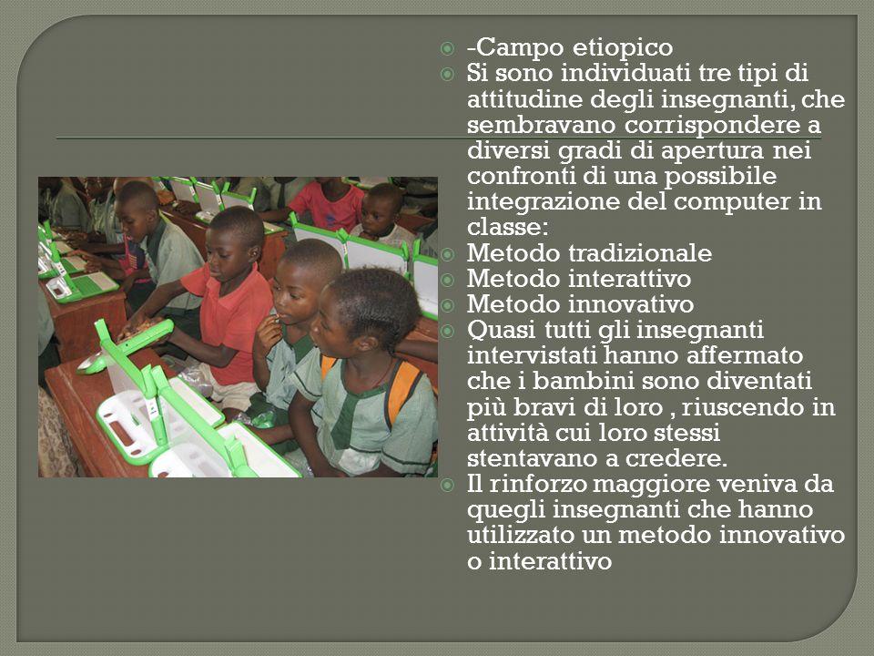 -Campo etiopico Si sono individuati tre tipi di attitudine degli insegnanti, che sembravano corrispondere a diversi gradi di apertura nei confronti di