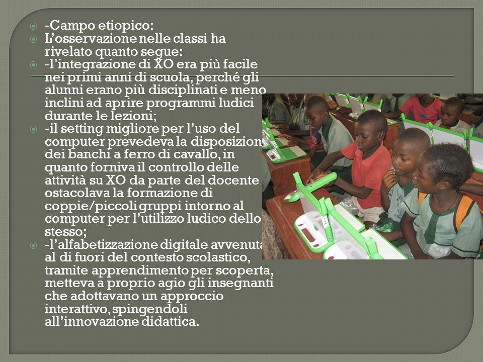 -Campo etiopico: Losservazione nelle classi ha rivelato quanto segue: -lintegrazione di XO era più facile nei primi anni di scuola, perché gli alunni