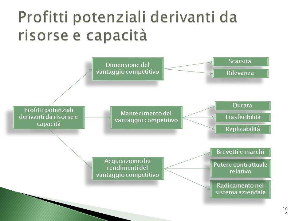 Profitti potenziali derivanti da risorse e capacità Acquisizione dei rendimenti del vantaggio competitivo Mantenimento del vantaggio competitivo Dimen