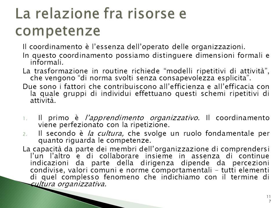 Il coordinamento è lessenza delloperato delle organizzazioni. In questo coordinamento possiamo distinguere dimensioni formali e informali. La trasform