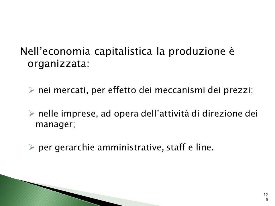 Nelleconomia capitalistica la produzione è organizzata: nei mercati, per effetto dei meccanismi dei prezzi; nelle imprese, ad opera dellattività di di