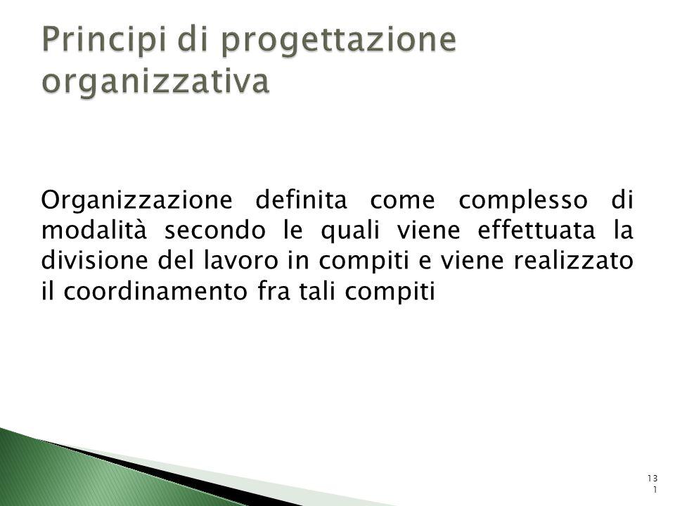 Organizzazione definita come complesso di modalità secondo le quali viene effettuata la divisione del lavoro in compiti e viene realizzato il coordina